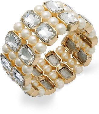 Charter Club Gold-Tone Crystal and Imitation Pearl Multi-Row Stretch Bracelet