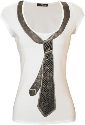 Jane Norman Embellished Tie Print T-Shirt