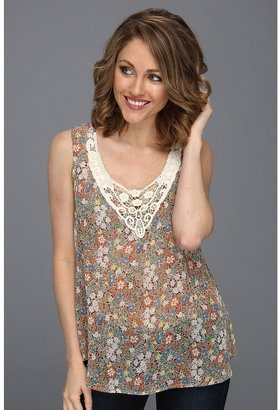Roper Floral Print Georgette Tank (Brown) - Apparel