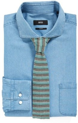 HUGO BOSS 'Jasey' Slim Fit Denim Dress Shirt