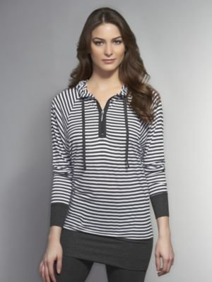 New York & Co. Love NY&C Collection - Striped Pullover Hoodie Tunic