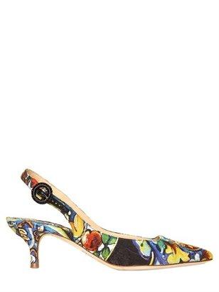 Dolce & Gabbana 50mm Brocade Maiolica Sling Back Pumps