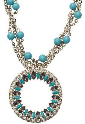 LOFT Long Blue Cast Gem Pendant Necklace
