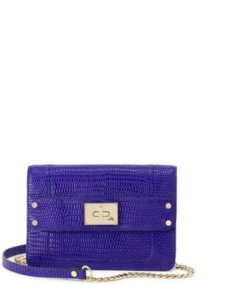 Milly Leather Handbag - Black & Violet Gabriella Iguana Mini Bag
