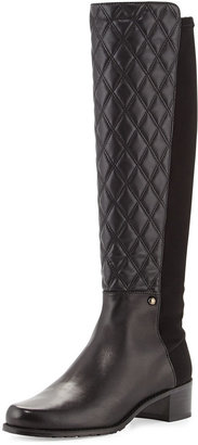 Stuart Weitzman Guard Quilted Leather Knee Boot, Black