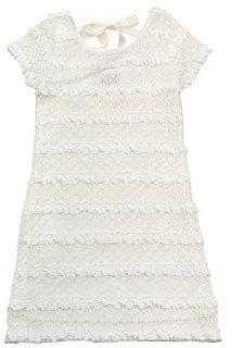 Rare Editions Girls' 7-16 White Lace Eyelash Ribbon Dress