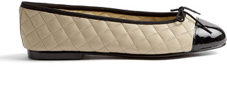 French Sole Simple Cream Quilted Leather Ballet Pumps