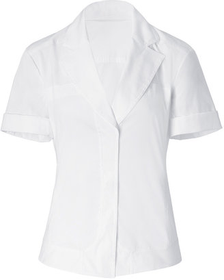 Donna Karan White Rolled Sleeve Seamed Shirt