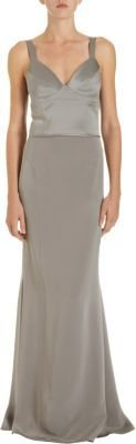 Narciso Rodriguez Top-Stitched Bodice Gown