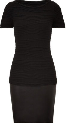Jitrois Black Wool and Leather Combo Dress