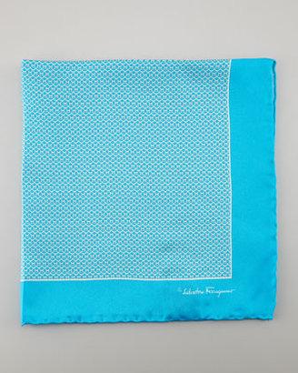 Salvatore Ferragamo Gancini Silk Pocket Square, Turquoise