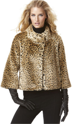INC International Concepts Jacket, Animal Printed Faux Fur Cropped