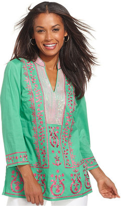 Charter Club Top, Three-Quarter-Sleeve Sequin Embroidered Tunic