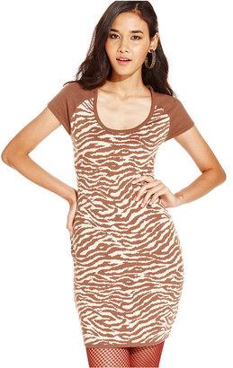 Planet Gold Juniors Dress, Short Sleeve Zebra-Print Sweater