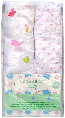 Laura Ashley owlphabet 2-pk. muslin swaddles - pink