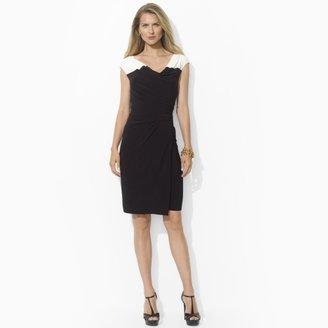 Ralph Lauren Two-Toned Cowl Jersey Dress