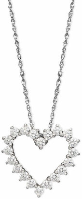 Arabella 14k White Gold Necklace, Swarovski Zirconia Heart Pendant (1 ct. t.w.)