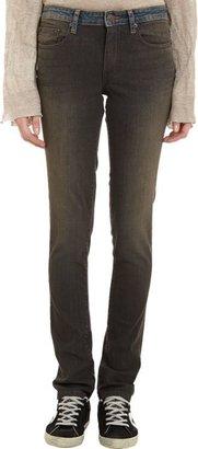 6397 Contrast Waistband Skinny Jeans-Black
