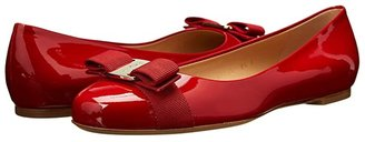 Salvatore Ferragamo Varina Ballet Flat w/ Bow (New Bisque Patent) Women's Slip on Shoes