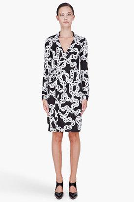 Diane von Furstenberg Black Chain Print Wrap Dress