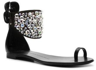 Giuseppe Zanotti Embellished Leather Flat Sandal