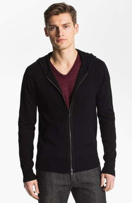 John Varvatos Merino Wool Slim Fit Zip Hoodie