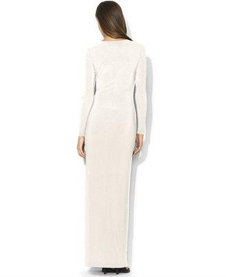 Lauren Ralph Lauren Long-Sleeve Draped Brooch Dress