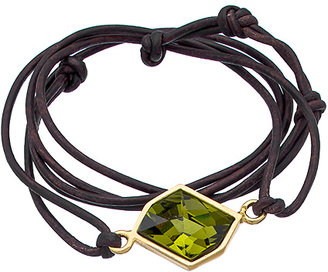 Diana Warner Gold Brown Leather and Green Kathryn Stone Callahan Wrap Bracelet