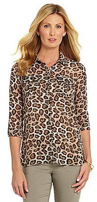 Westbound Cheetah-Print Roll-Tab Sleeve Top