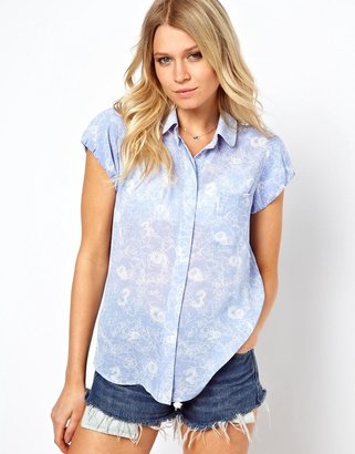 Asos Blouse With Balloon Sleeve In Scribble Print
