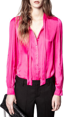 Zadig & Voltaire Taos Satin Button-Front Tunic Top
