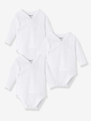 fad54f6ae Vertbaudet Newborn Baby Pack of 3 Long-Sleeved White Bodysuits in Pure  Cotton