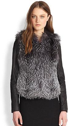 Vince Silver Fox Fur & Leather Coat