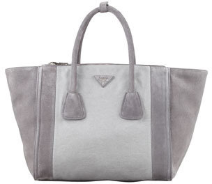 Prada Denim & Suede Bicolor Tote Bag, Blue-Gray