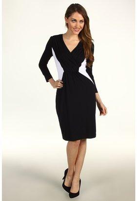 Calvin Klein Colorblock Sheath Dress With Pleated Neckline (Black White) - Apparel