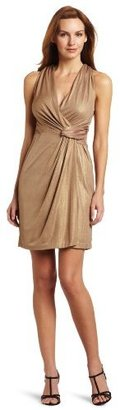 Donna Morgan Women's Sleeveless Mock Wrap Dress with Side Draping