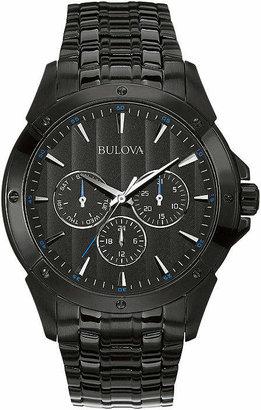 Bulova Mens Black Stainless Steel Watch 98C121