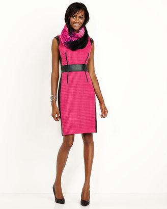 Lafayette 148 New York Abbey Tweed & Faux-Leather Dress, Cerise