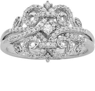 Vera Wang Simply Vera Sterling Silver 1/3-ct. T.W. Diamond Scrollwork Ring