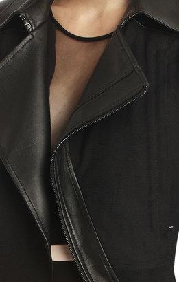 BCBGMAXAZRIA Runway Hazel Leather Contrast Mesh Jacket