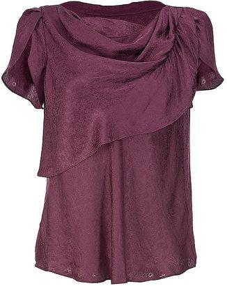 Vanessa Bruno Bordeaux Drape Silk Top