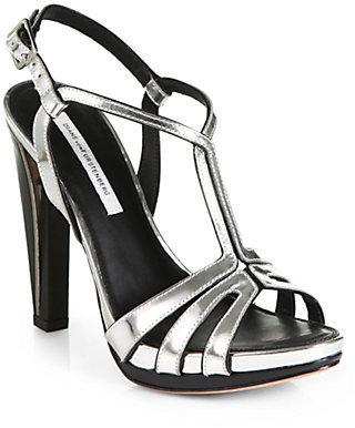 Diane von Furstenberg Devon Metallic Leather T-Strap Sandals
