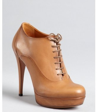 Gucci honey burnished leather lace-up ankle booties