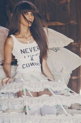 Wildfox Couture Never Love a Cowboy Buffalo Tank in Clean White