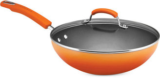 "Rachael Ray Hard Enamel 11"" Covered Stir Fry, Orange"