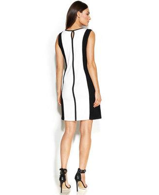 Calvin Klein Sleeveless Mesh-Panel Colorblock Dress