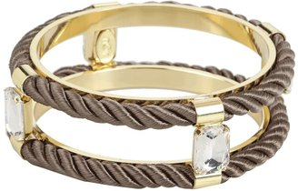 Noir Jaipur Cord and Crystal Bangle Bracelet (Graphite/Gold) - Jewelry