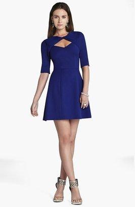 BCBGMAXAZRIA Front Twist Fit & Flare Dress