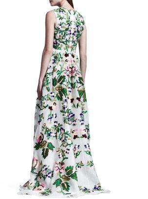 Valentino Embroidered Silk Organza Gown, White/Green