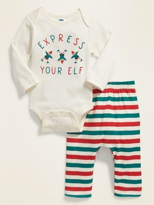 Old Navy Christmas Graphic Bodysuit & Printed Pants Set for Baby